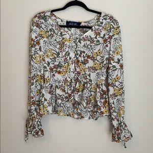 BLUE RAIN floral button front blouse